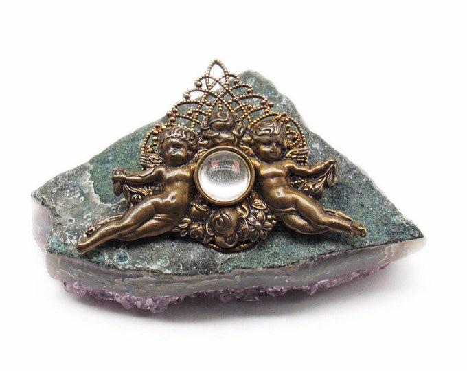 Jan Michaels of San Francisco vintage art nouveau cherub handcrafted bronze brooch