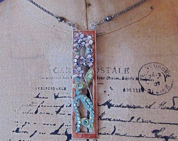 Vintage Anne Koplik Designs Art Deco Revival antiqued silver tone faceted Crystal with Enamel signed Pendant Necklace
