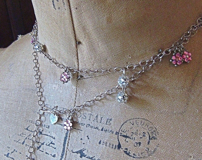 Emily Austin Designs vintage Rhodium Plated paved Swarovski Crystal accented Charming long Station Necklace