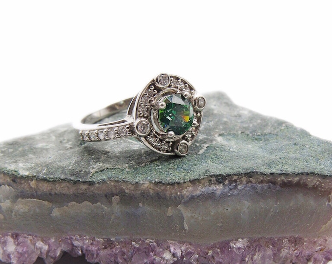 Vintage Jose Hess retired Art Deco Revival Sterling Silver faceted Emerald Green CZ size 9 signed designer Ring