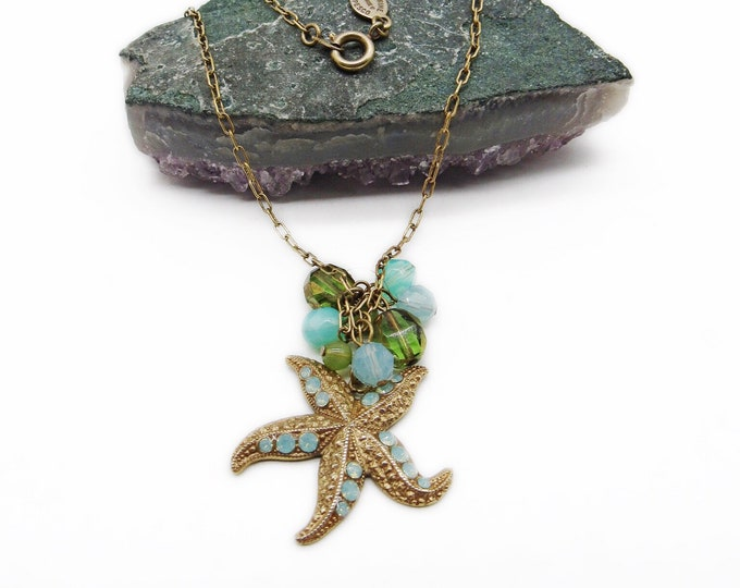 La Vie Parisienne by Catherine Popesco charm starfish necklace with turquoise beads and Swarovski crystals signed, 14k gold plated !