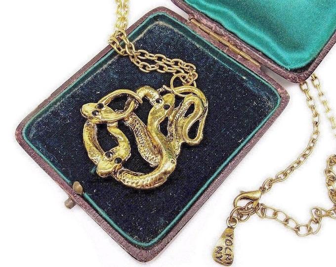 Vintage Designer Yochi NY antiqued gold tone faceted Jet Black Crystal accented signed Dual Serpent Snake Pendant Necklace