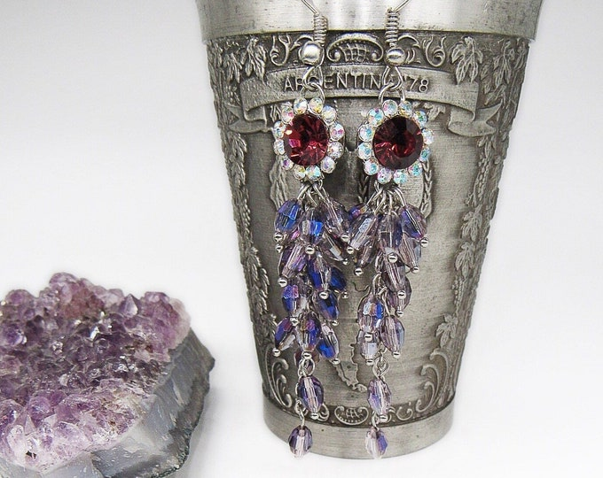 Vintage Kirks Folly silver tone faceted Aurora Borealis Ruby red and amethyst purple tear drop signed statement earrings