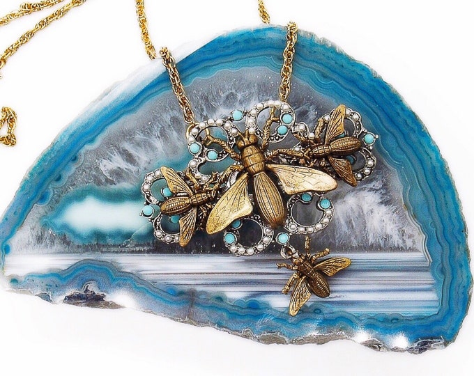 """Miss Ellie NYC Victorian Art Nouveau revival """"Insect Trio"""" antiqued brass signed necklace"""