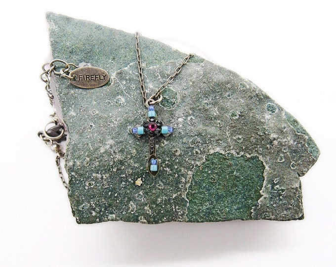 Vintage Firefly jewelry company silver plated antiqued steel colorful mosaic Cross signed pendant necklace