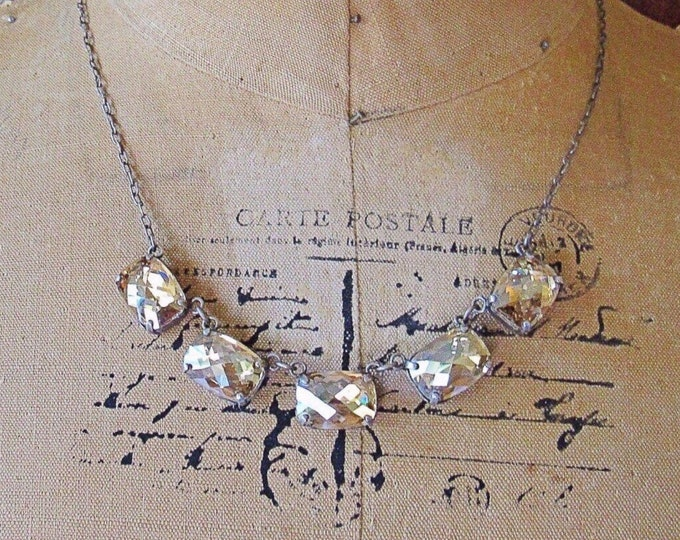 Catherine Popesco of France vintage retired Art Deco revival antiqued silver tone faceted smoky Topaz signed necklace