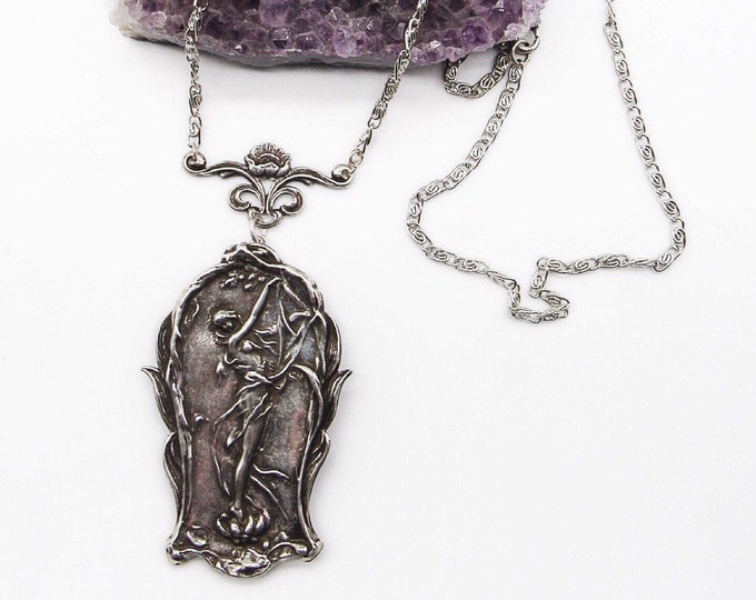 Miss Ellie NYC vintage Art Nouveau silver plated picturesque windswept Nymph signed statement locket necklace