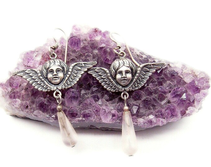 Vintage Art Nouveau styled Cherub Sterling Silver pink quartz signed dangle earrings