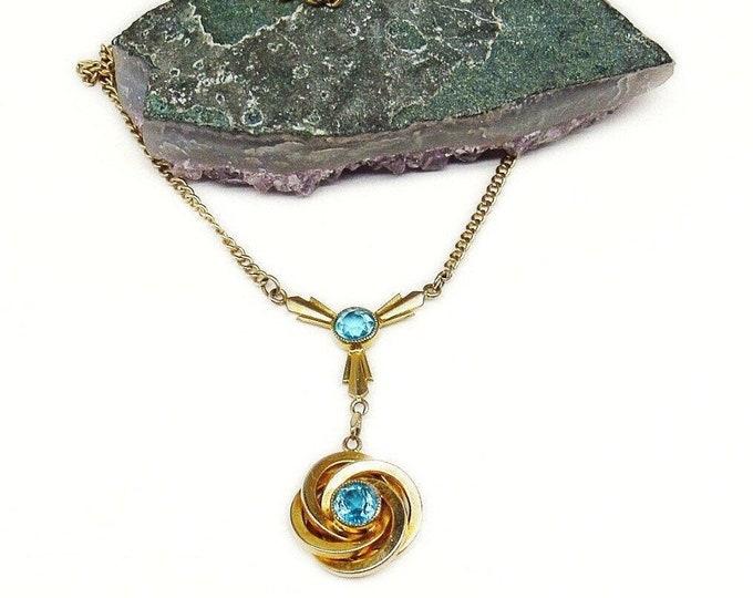 1940s vintage golden tone faceted Topaz Blue Rhinestone elegant Y Necklace
