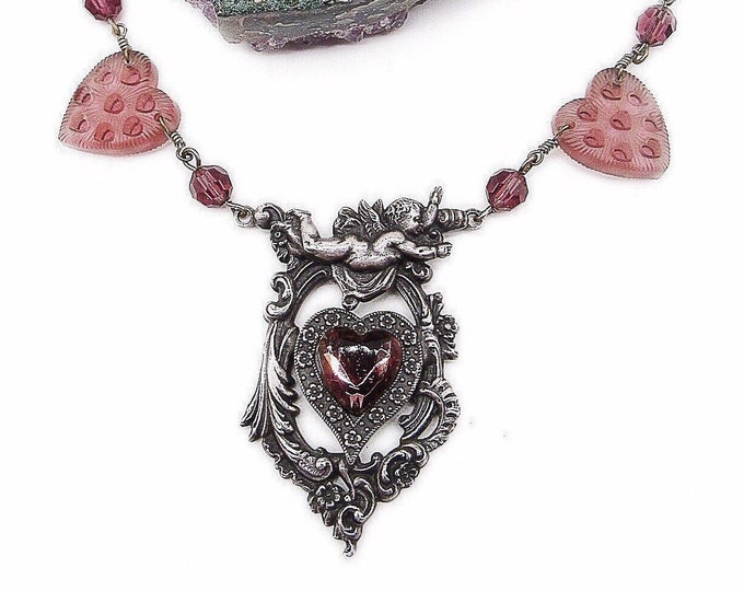 Romantic vintage Sadie Green Victorian revival antiqued silver faceted crystal molded glass hearts ans Cherub signed statement necklace