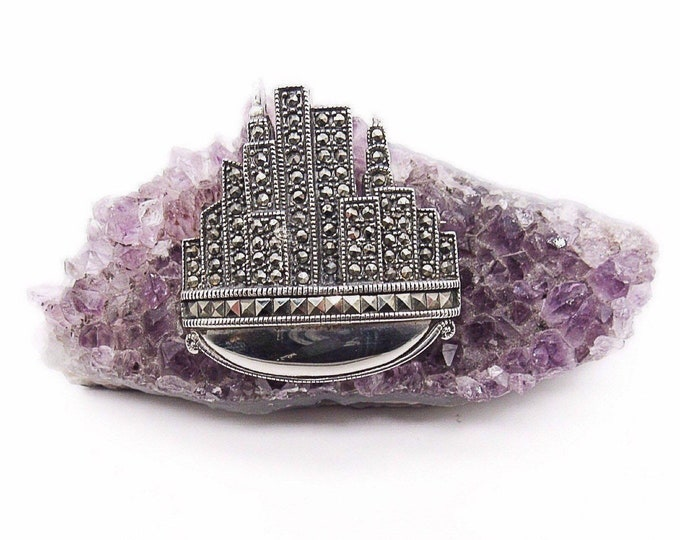 Vintage Art Deco revival Jasco DBJ sterling silver marcasite New York City skyline signed statement brooch