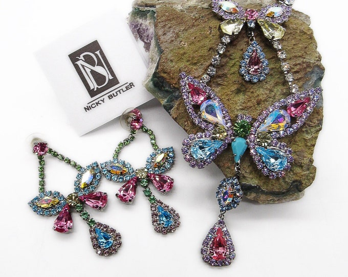 Exquisite Nicky Butler vintage Estate retired England NOS Rhinestone Butterfly 1970s signed Runway demi parure set
