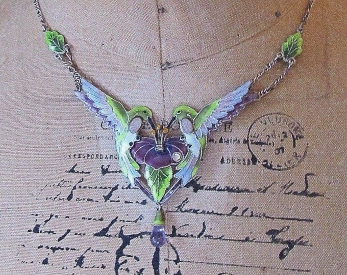 Exquisite Vintage Zarah Sterling Silver Hand Painted Guilloche Enamel Hummingbird with Hibiscus Amethyst stone signed Bib Necklace