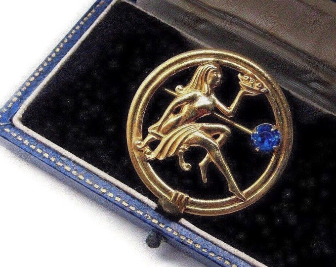 Vintage Art Nouveau Revival Van Dell 12k Gold Filled Woman Repousse faceted Sapphire Blue Crystal accented signed Designer Brooch
