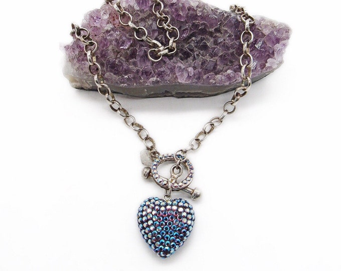 Vintage Emily Austin Rhodium plated silver Pave Swarovski Crystal Heart toggle closure signed choker necklace