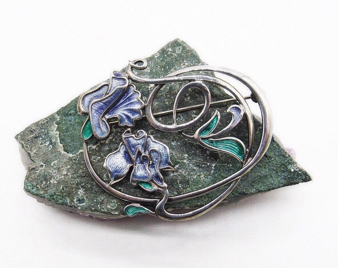 Vintage Pat Cheney Art Nouveau Revival Sterling Silver handcrafted Floral Enamel signed statement brooch