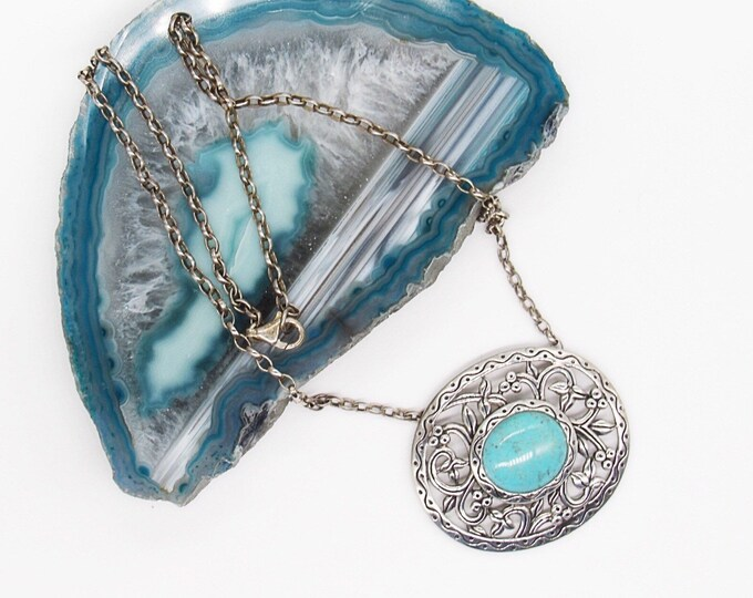 Vintage 1970s sterling silver ornate turquoise  pendant necklace