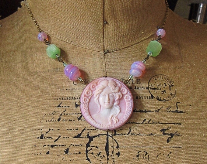 Vintage Art Nouveau molded pink opaque Czech Glass Cameo and beads antiqued brass unsigned choker necklace