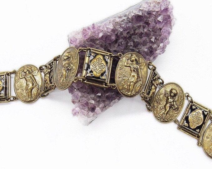 Sweet Romance USA vintage Edwardian/Victorian revival antiqued brass tone Enamel cherub signed slide bracelet