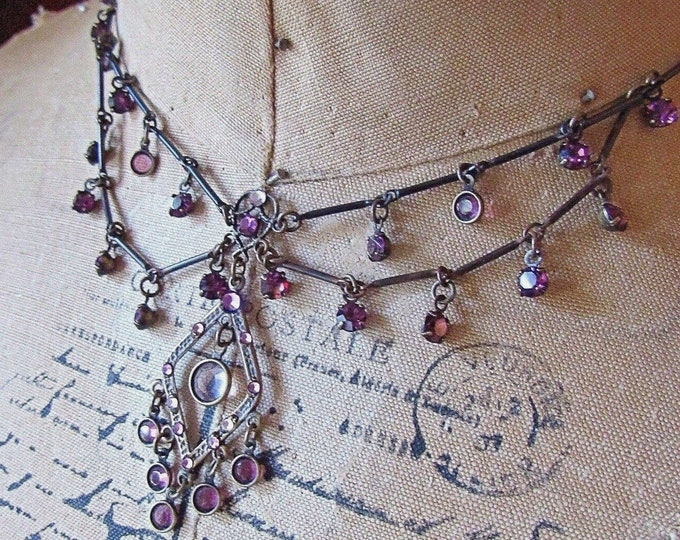 Stunning vintage Top Shelf Victorian Revival antiqued bronze tone faceted Amethyst Purple Crystal accented signed Festoon Necklace