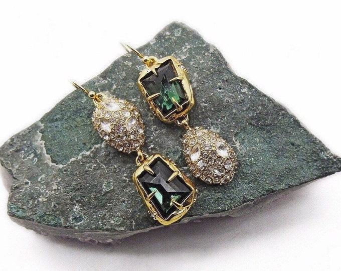 Alexis Bittar vintage retired brilliant gold plated faceted Emerald Green and Clear Crystals signed designer Earrings