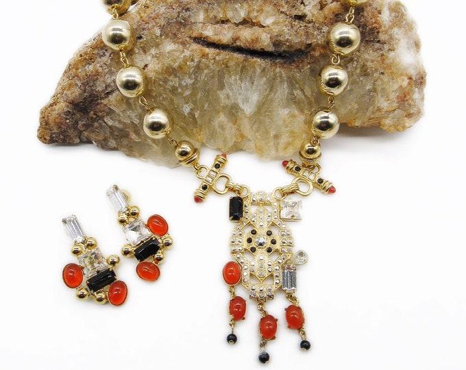 Rare Kirks Folly vintage Art Deco Modernist design brilliant gold tone faceted Swarovski Crystal signed necklace and earrings set
