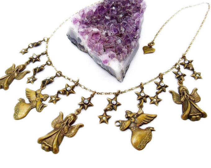 Vintage Top Shelf jewelry antiqued brass Angels and Aurora Borealis rhinestone signed charm necklace