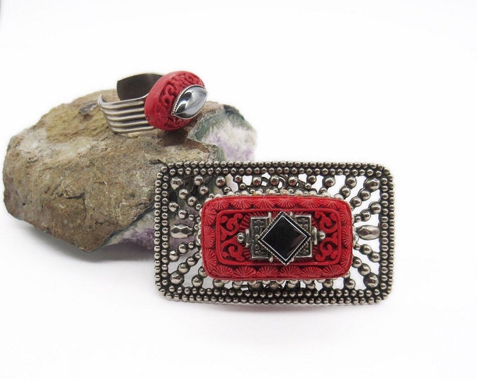 Jan Michaels San Francisco vintage retired Art Deco revival antiqued silver tone carved Cinnabar Hematite brooch and statement ring set