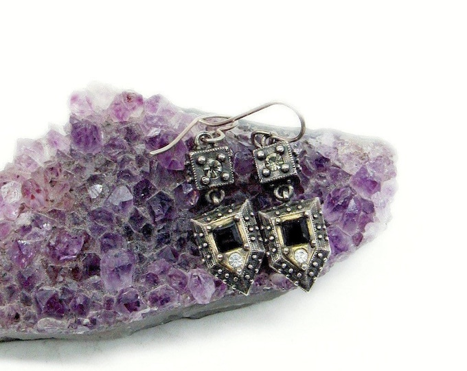 Designer Patricia Locke vintage antiqued silver tone faceted Crystal Onyx glass signed Modernist Dangle Earrings