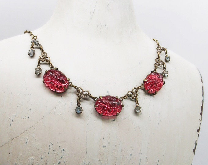 Glass Works Studio Ltd vintage Art Deco revival antiqued brass molded rose glass and rhinestones signed bib necklace