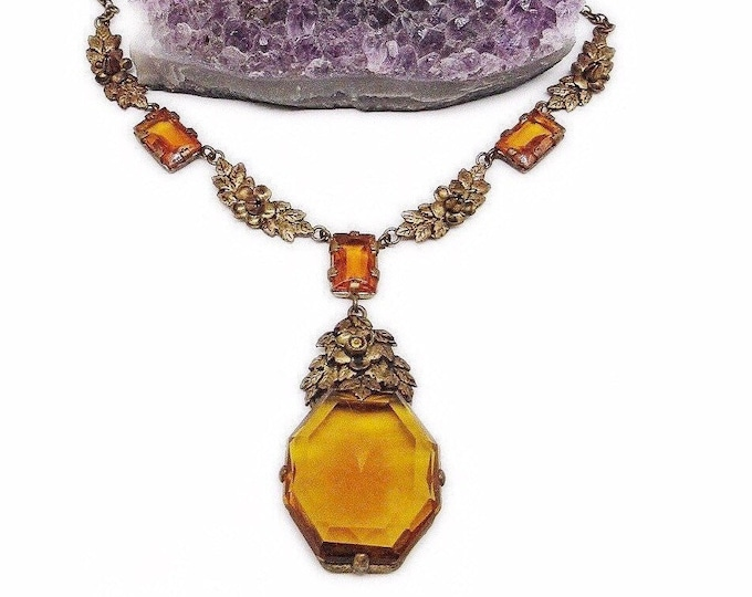 Gorgeous Vintage Edwardian Design antiqued brass Floral Filigree faceted Amber Czech Glass Lavaliere Choker Necklace