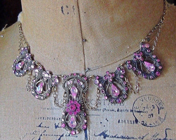 Gorgeous Top Shelf Jewelry Victorian revival antiqued gold tone faceted Swarovski Crystal signed festoon choker and earrings Demi parure