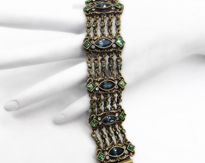 Vintage Sweet Romance Edwardian Renaissance revival Neo Classical style faceted rhinestone multi chain signed statement bracelet