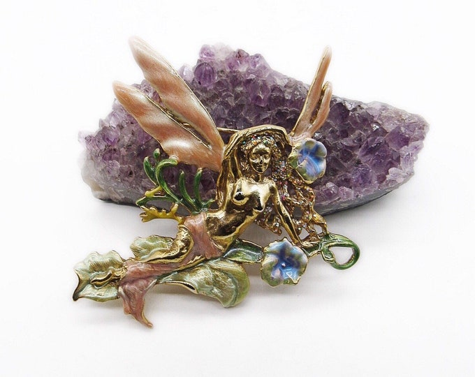 Kirks Folly vintage brilliant gold enamel Morning Glory winged fairy signed statement brooch