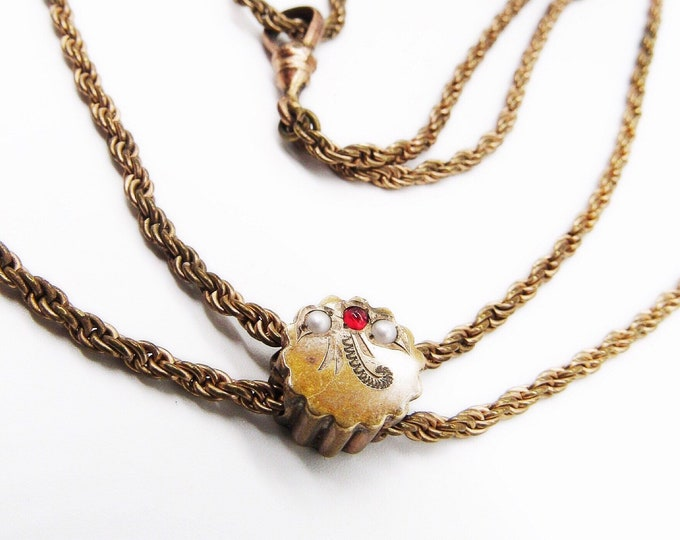Antique Victorian seed pearl and garnet gold filled slide double chain watch necklace