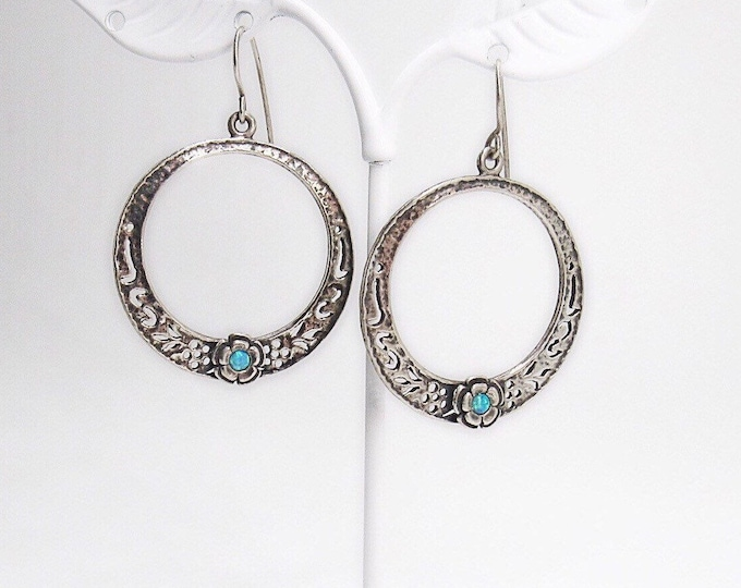 Vintage Shablool Didae of Israel beautiful sterling silver and blue fire opal signed earrings