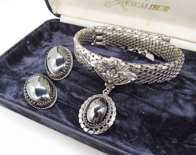Stunning Whiting and Davis vintage Victorian Revival Alumesh Chain Mail Hematite signed Choker Necklace Clip Earrings Designer Set