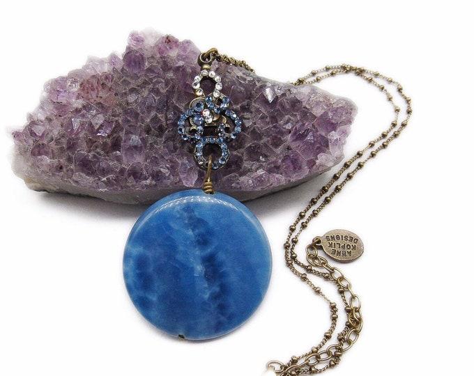 Rare vintage Anne Koplik antiqued Brass tone Lapis Lazuli Blue Medallion faceted Swarovski Crystal accented Designer Necklace