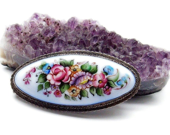 Russian Rostov Finift vintage antiqued silver tone hand painted floral enamel brooch