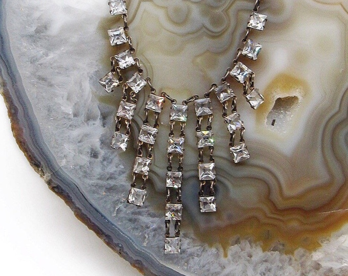 Antique Art Deco 1920s Sterling Silver cascading faceted Quartz Crystal delicate signed Choker Necklace