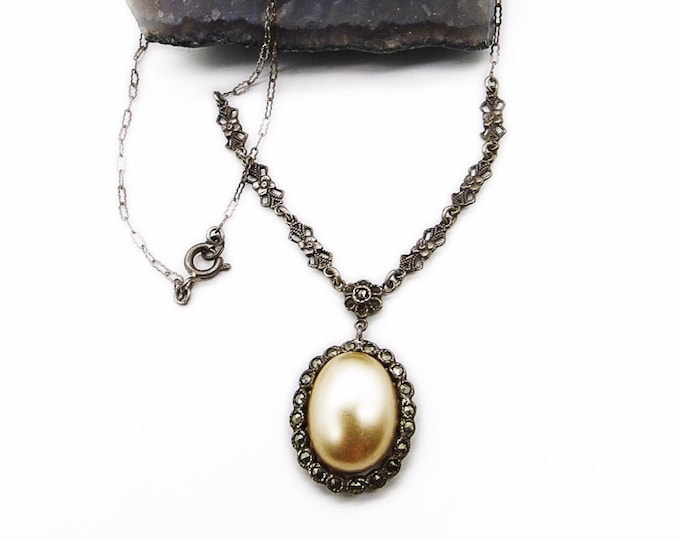 1930s Germany vintage Victorian revival rhodium plated marcasite glass pearl signed Lavaliere necklace
