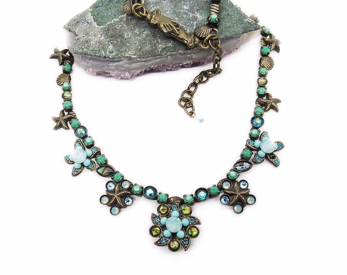 Mary DeMarco La Contessa vintage retired antiqued bronze faceted Crystal sea shell signed statement necklace