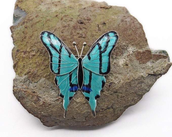 Thousand Flowers 1970s vintage Sterling Silver Cloisonné Enamel vibrant signed Butterfly Brooch