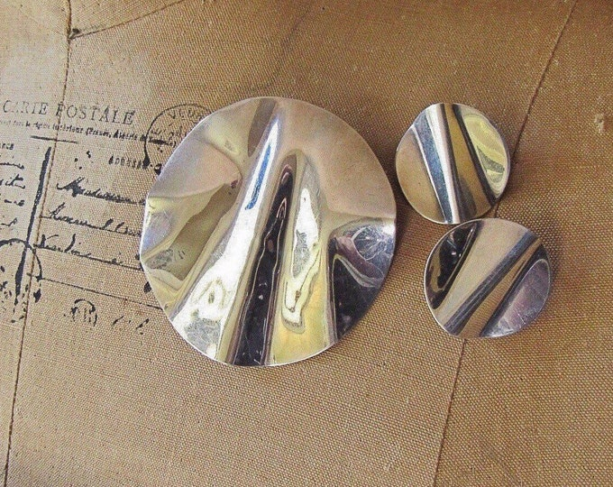 Vintage 1980s Paula Dawkins Sterling Silver Sculptural Modernist signed Earrings and Brooch/Pendant set