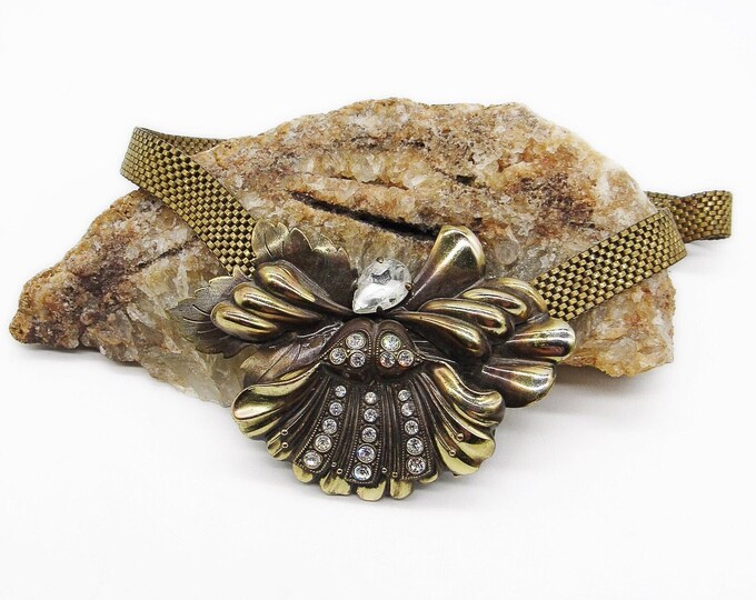 Variata Designs W. Germany vintage antiqued bronze faceted Rhinestone signed snap choker necklace