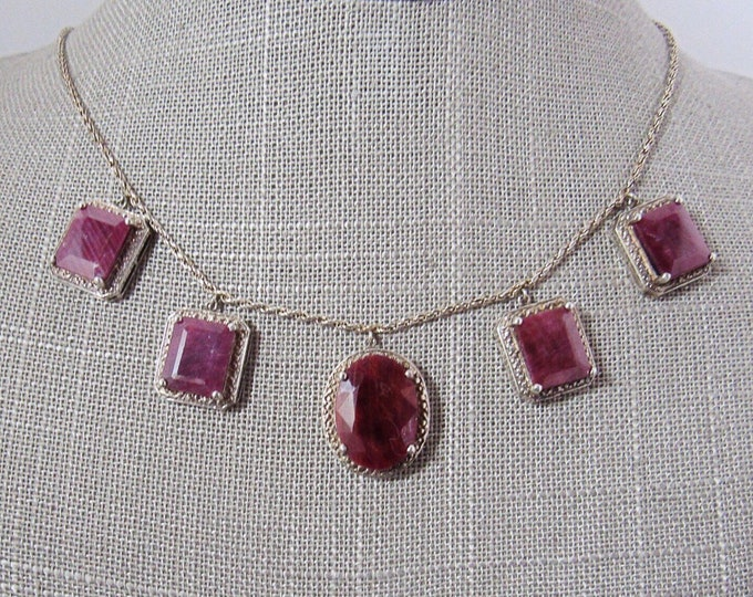 Edwardian/Art Deco Sterling silver authentic Mahaleo  Ruby signed necklace , exquisite !