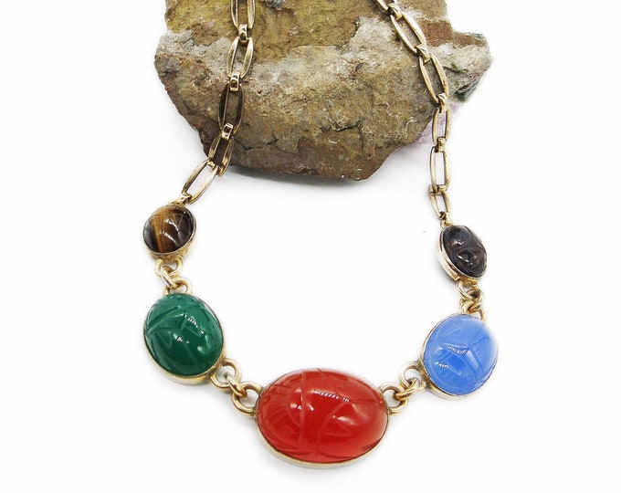 1940s vintage Symmetalic Sterling 14k gold fill Scarab semi precious signed choker necklace
