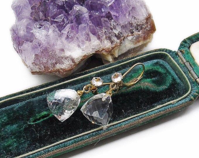 "Vintage Designer Deb Guyot elegant Sterling Silver Vermeil Herkimer ""Diamond"" cut Rock Quartz Crystal signed Dangle Earrings"