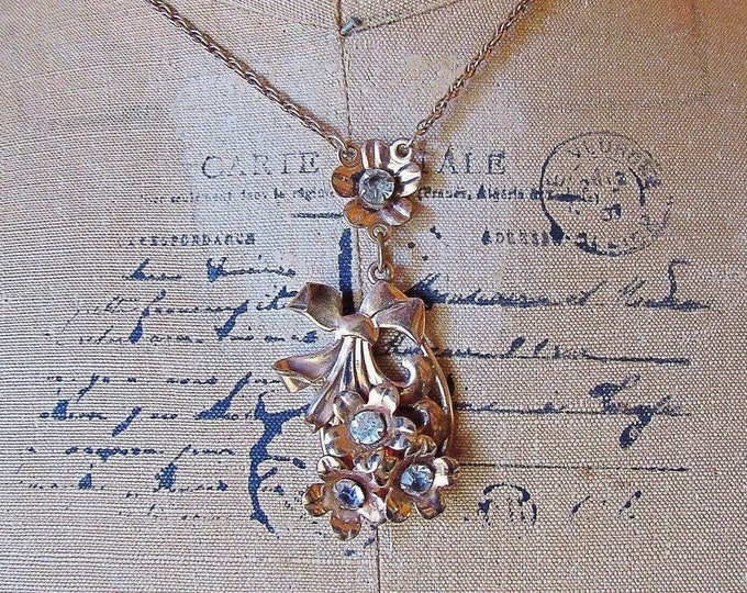 Stunning McClelland Barclay vintage 1930s 12k Gold Filled faceted Rhinestone Paste Crystal accented Floral Motif Y Necklace