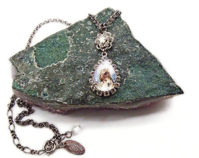 Liz Palacios of San Francisco vintage antiqued silver tone faceted Swarovski Crystal signed Designer pendant Necklace
